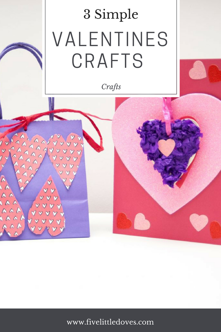 3 Simple Valentines Crafts For Children | Quick and easy crafts ideas that kids can do. Perfect for making for their friends for Valentines Day. They only require cheap items to make a cute gift that they will enjoy www.fivelittledoves.com