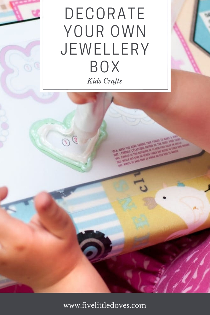 Decorate Your Own Jewellery Box | The perfect kids craft! Make your own jewellery box to give as a gift on mothers day or just to keep for themselves - a rainy day activity to keep them busy for ages www.fivelittledoves.com
