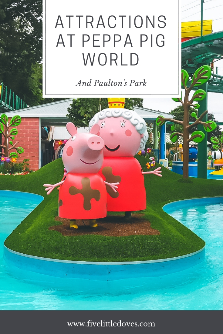 Attractions At Peppa Pig World | Paulton's Park isn't just about Peppa Pig World. With rides and splash parks, plus lots of places to buy lunch, you will need a full day to explore Paulton's. A fun day out for the whole family. Read this article to find out what to expect and what is the best age to visit Peppa Pig World based on the rides available www.fivelittledoves.com